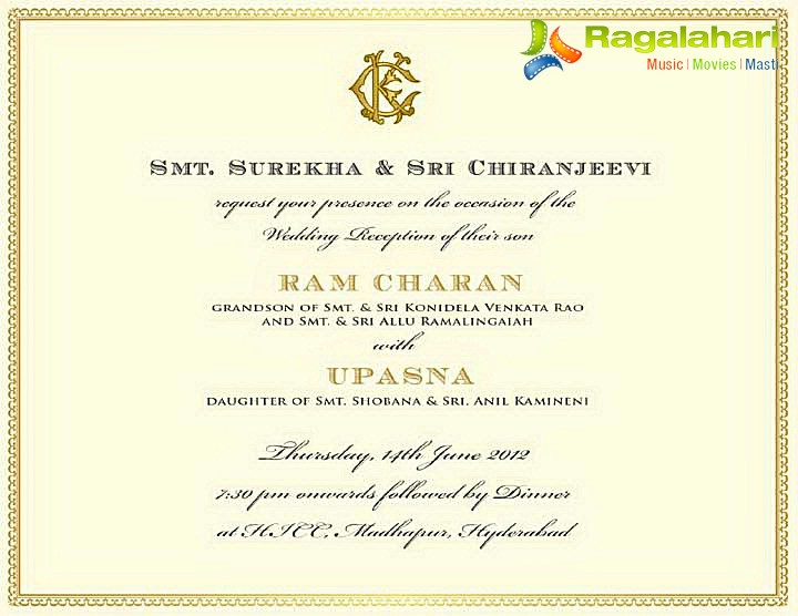 Ram Charan Wedding Invite