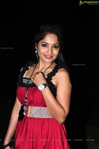 Madhavilatha in Red Sleeveless Dress