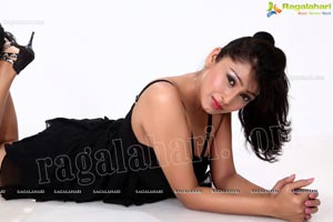 Amrita Ghosh in Mini Black Dress