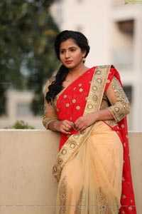 Tanusha in Red Saree