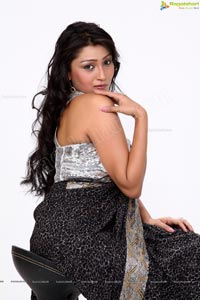 Model Amrita Ghosh in Sexy Black Dress