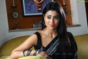 Shriya Sensuous Expressions in Black Saree