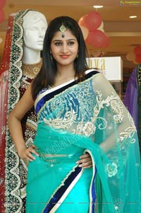 Beautiful Model Shamili in Cool Blue Net Saree
