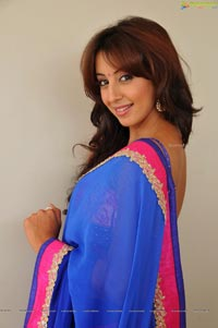Sanjana posing in low back saree blouse