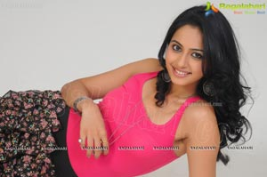 Rakul Preet Singh in Sleeveless Pink T Shirt and Skirt