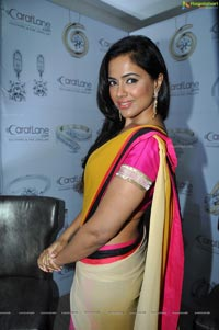 Sameera Reddy Yellow Pink Saree