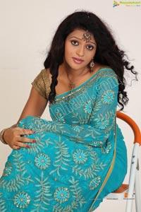 Indian Model Silpa Blue Saree